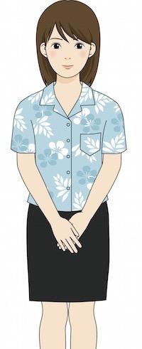 アロハシャツを着た女性従業員